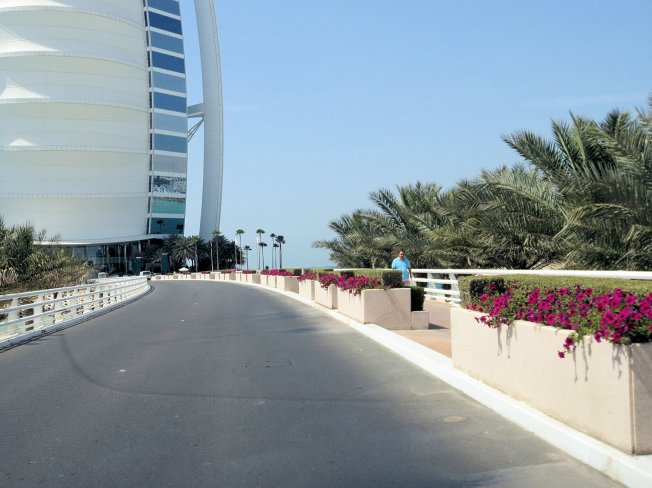 This is the short causeway across the water to the island that the Burj Al Arab is situated.  There's also a walkway to the right.