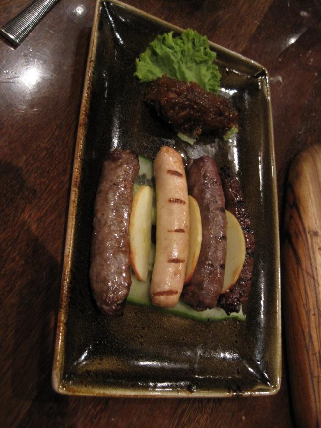 Appetizer - the sausage platter.